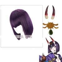 Fate grand order FGO Assassin Shuten Douji Cosplay Costume wig Hiar Headwear Cosplay Horns Green hair accessory Set