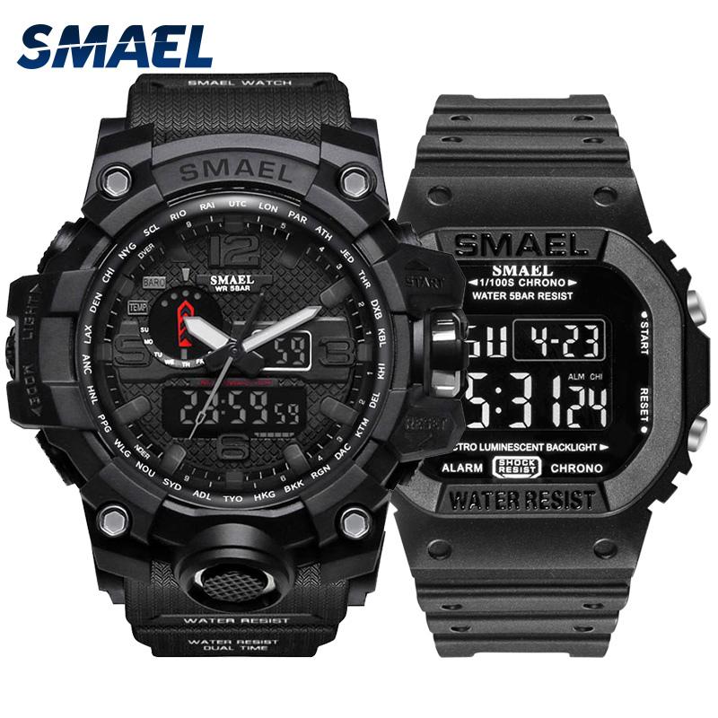Fashion Camo Military Men's Watches Set  SMAEL Double Army Waterproof Male WristWatch 1545 1801 Gift Digital Kol Saati Watch Men