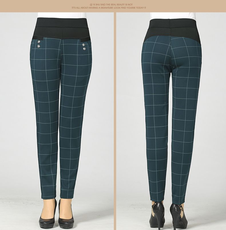 Woman Casual Pant Navy Blue Green Black Plaid Trousers Women Spring Autumn Winter Trouser High Waist Elastic Band Pantalonese Mujer  (14)