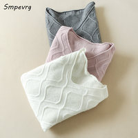 Smpevrg New cashmere sweaters women pullovers female knitted long sleeve big V neck women sweater pullover cashmere knitted soft