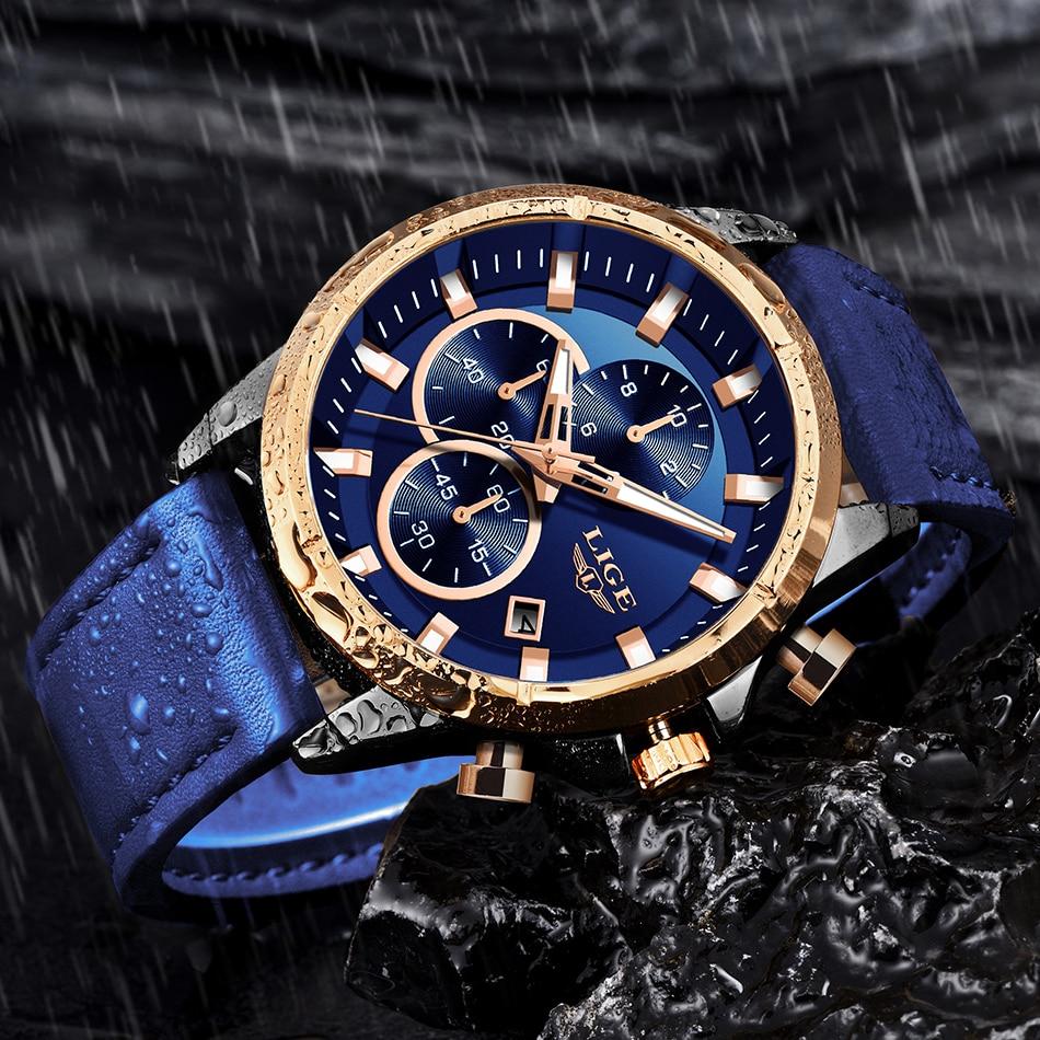 5Montre Étanche Chronographe Fashion bracelets Cuir