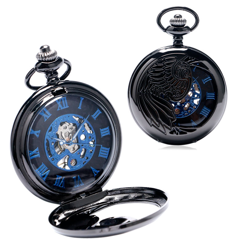 Nieuw Trendy Cool Black Peacock Hollow Case Blauw Roman Number Skelet - Zakhorloge - Foto 4