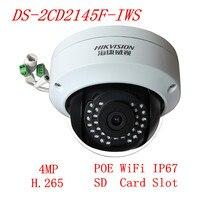 Hikvision 4MP DS-2CD2145F-IWS H.265 WIFI POE כיפת IP מצלמה להחליף DS-2CD2142FWD-IWS HIK מצלמה אינטרנט ריבוי שפות