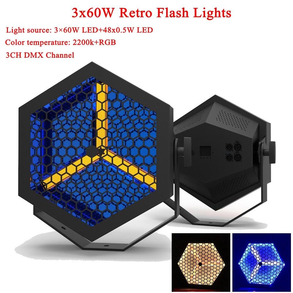 New Type 210W LED Retro Flash Light LED Night Light Music Party DJ Disco Decorative Lamp With 48pc LED RGB Projector Lights