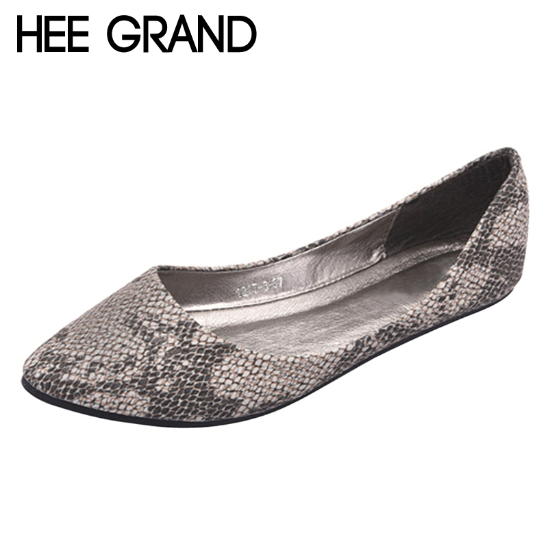 HEE GRAND Spring Ballet Flats 2018 Platform Loafers Slip On Serpentine Leather Shoes Comfort Women Flat Shoes Size 35-41 XWD6267 jingkubu 2017 autumn winter women ballet flats simple sewing warm fur comfort cotton shoes woman loafers slip on size 35 40 w329