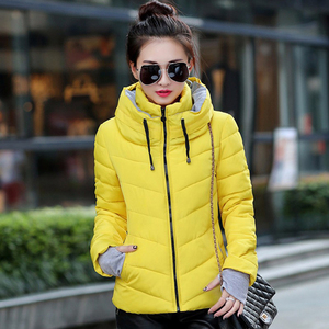 Image 3 - 2019 hooded women winter jacket short cotton padded womens coat autumn casaco feminino inverno solid color parka stand collar