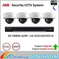 Original Hik 8MP Security System NVR KIT DS 7608NI I2 8P 8MP IP Camera DS 2CD2185FWD