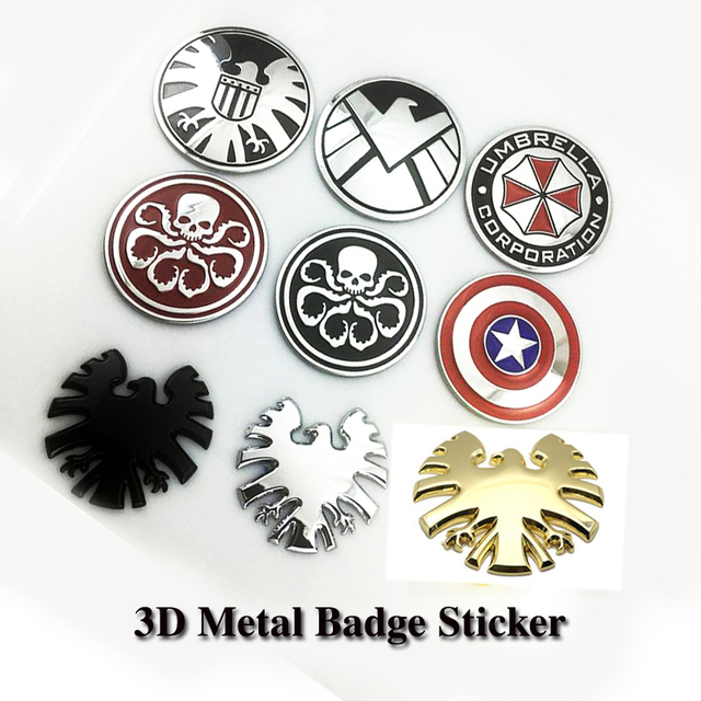 1pc chrome metal agents shield skull resident evil car stickers decoration metal captain america the hydra