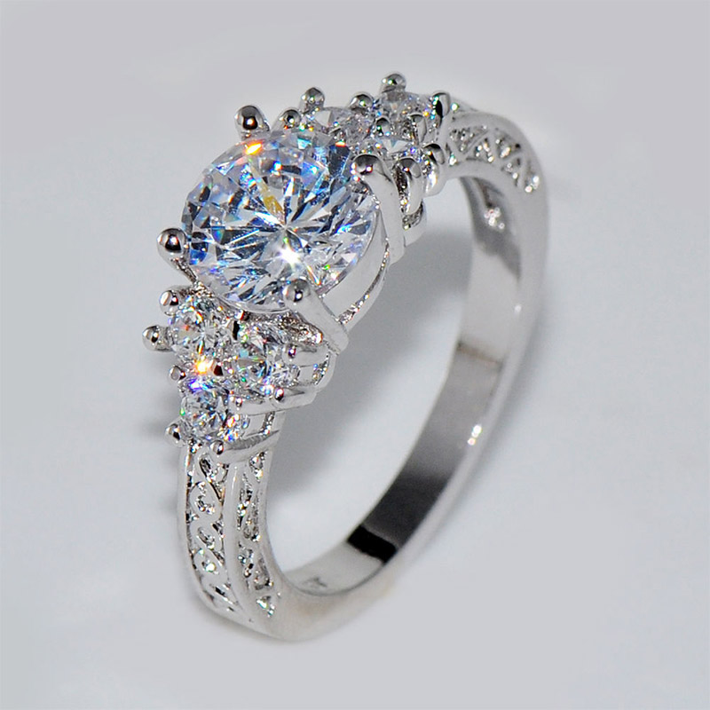 Crystal-Ring Wedding Silver Hot-Sale Unique Women Lovely New-Arrival Zircon 1PC Bride title=