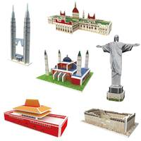6Sets DIY 3D Paper Building Puzzle Game Puzzle Building Model Kits Educational Hobby Gift Educational Toys For Children Under 7