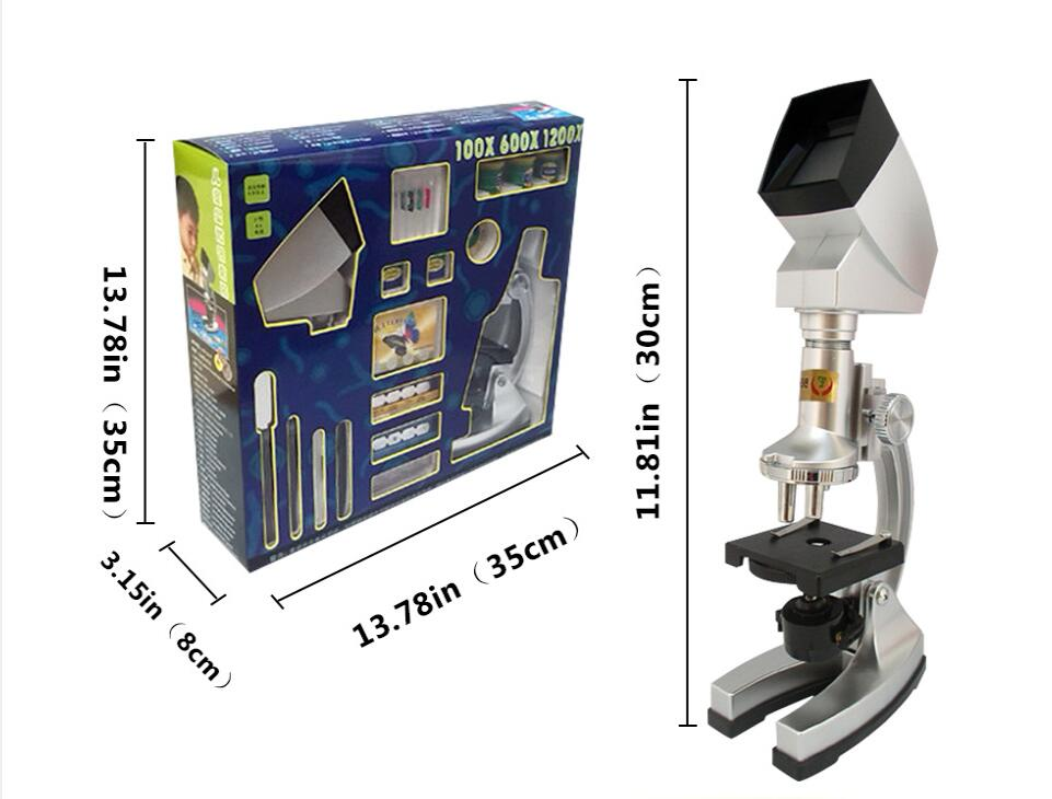 10X-20X Zoom Illuminated 1200X Kids Toy Biological Microscope with LED Light and Projector Birthday gift for Children monocular biological compound microscope led light and charger can be installed with rechargeable batteries