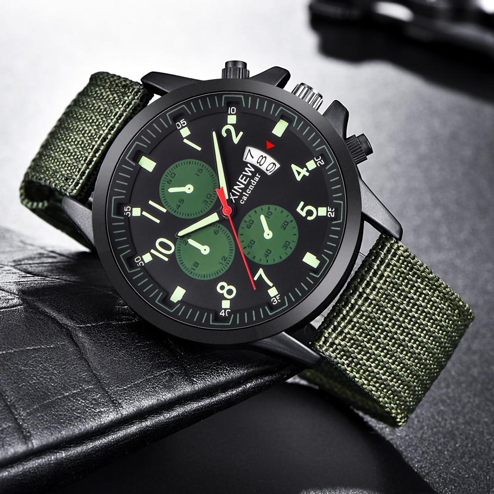 f88301ea1 Fashion Brans XINEW Watch Men Watches Fashion Luminous Watch Men Nylon Band  Military Sport Watches Men