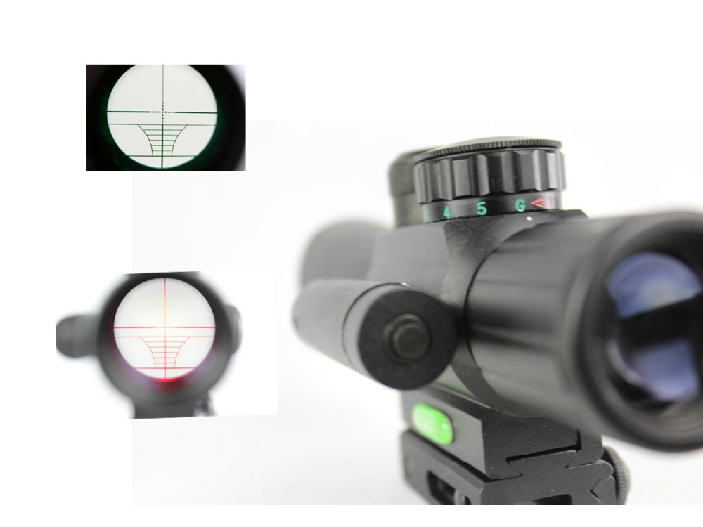 4X25 Tactical M6 Red Green Mil Dot Sight Scope with Red Laser 21mm Rail Mount Aim Airsoft Scope For plastic gun War game