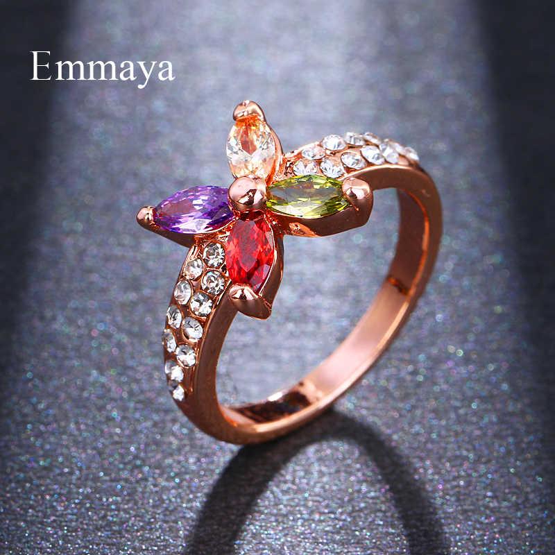 Emmaya New Hot Chất Lượng Cao Thời Trang Rose Gold Màu Sắc Đồ Trang Sức nhiều màu Hoa Zircon Nhẫn Pha Lê Nhẫn Cho Phụ Nữ Món Quà Tốt Nhất