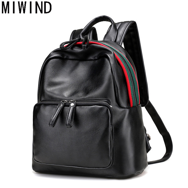 MIWIND brand Women Backpacks Women's Soft Leather Backpacks Female school Shoulder bags for teenage girls Travel Back pack T1034 2016 fashion women backpacks rivet soft sheepskin leather bags shoulder for teenage girls female travel bag free gift