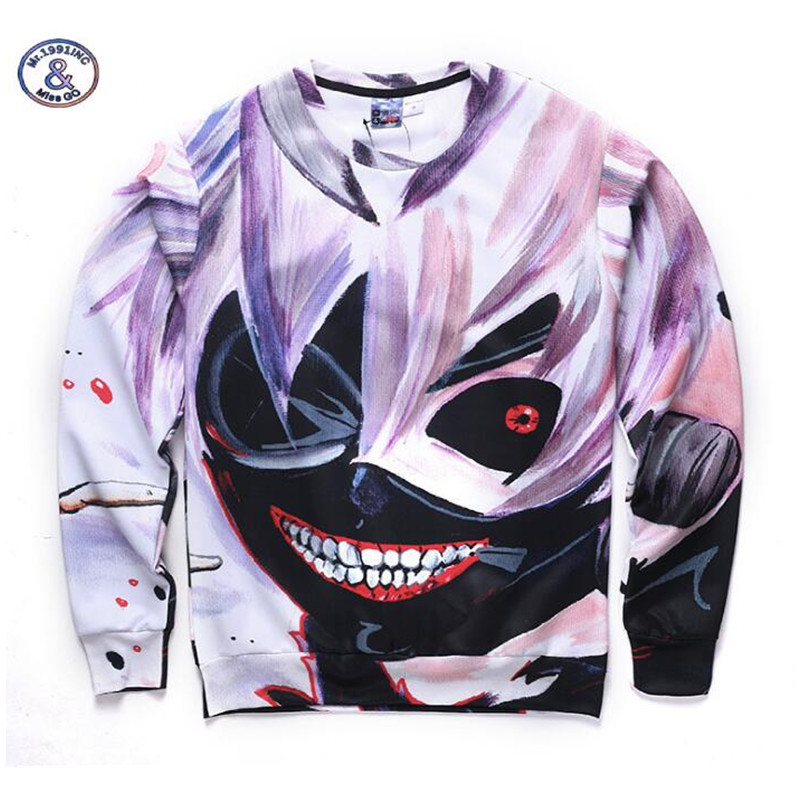Mr.1991INC&Miss.GO Hoodies Tokyo Ghoul Sweatshirt Men Ken Kaneki 3D Sweatshirts Male O-neck Casual Fashion Slim Fit Anime Hoodie