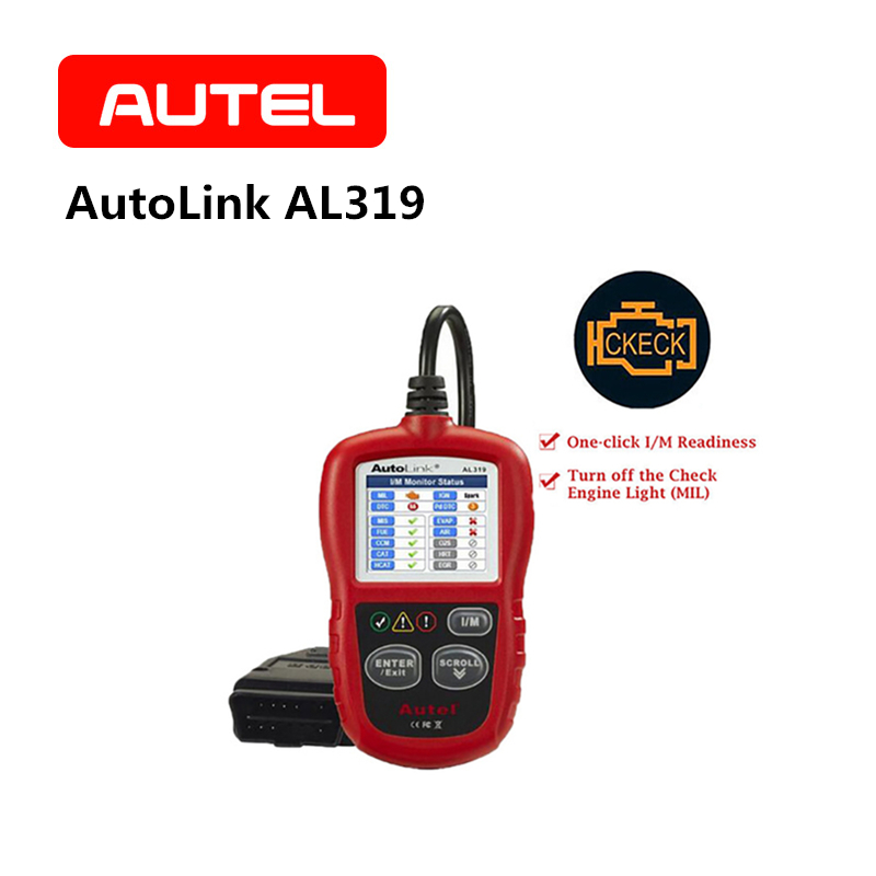 AUTEL AutoLink AL319 Diagnostic tool OBD2 CAN Code Reader Automotive Engine Fault Code Reader Scanner Color Screen OBDII