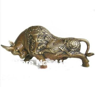 [old Craft ] Statue En Bronze Bull Taureau De BOEUF De Chinois Kylin (A0314)