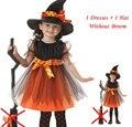 De la muchacha 1 Witch Dress + 1 del casquillo del sombrero Princess Party vestidos del tutú niños bebé ropa para niños carnaval de halloween Cosplay