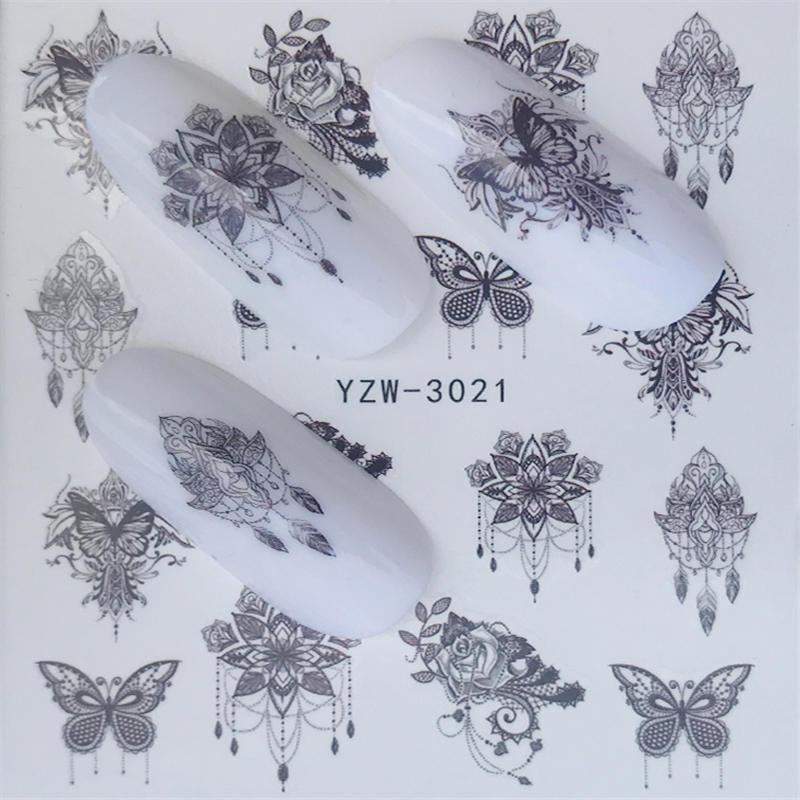 YZWLE стикер для ногтей художественное украшение слайдер лиса волк животное клейкая дизайнерская водная наклейка маникюрный лак аксессуары лак фольга - Цвет: YZW-3021