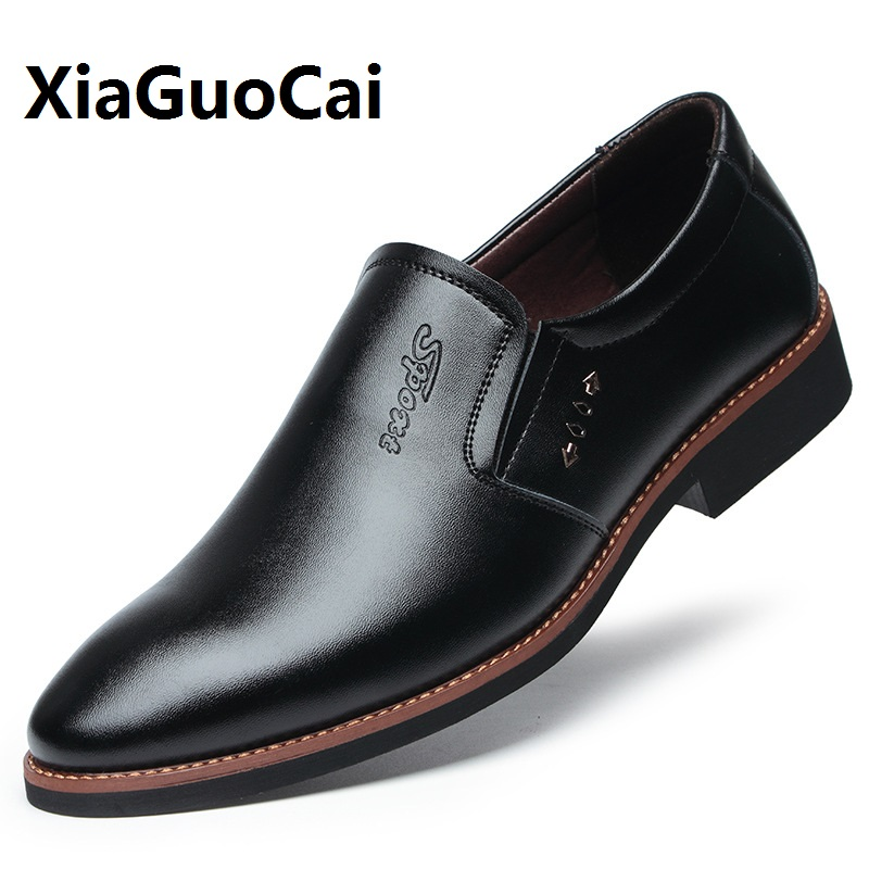 Spring Autumn Men Dress Shoes Breathable Point Toe Leather Formal Sewing Slip on Business Wedding Fashion Casual Shoes Male