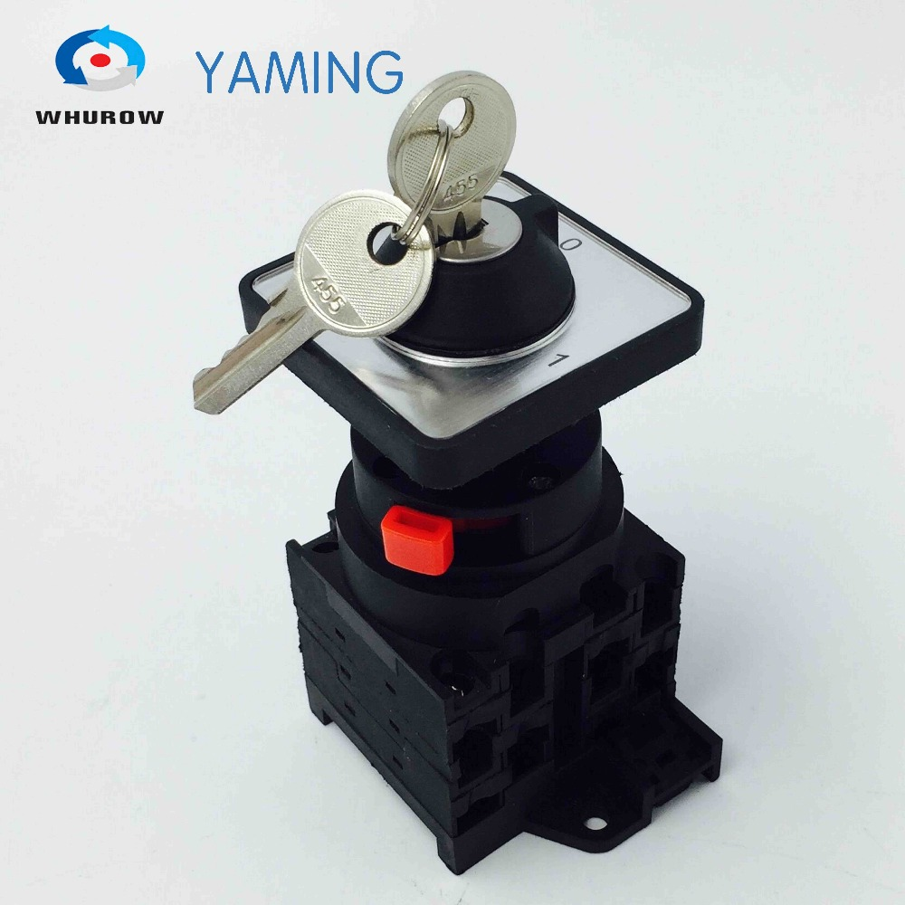Yaming electric Rotary changeover switch 2 position 0-1 on-off 3 phases with key easy install 690V 20A YMW42-20/3S 5pcs lot high quality 2 pin snap in on off position snap boat button switch 12v 110v 250v t1405 p0 5