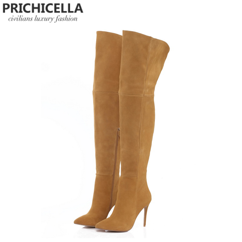 b73425be87c PRICHICELLA genuine leather thigh boots stiletto thin heels pointed toe  over the knee boots size34-42