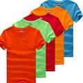 M-3XL 2016 Pure Color Cuello Redondo Manga Corta Camiseta de Los Hombres Tops Summer Camiseta Homme Plus Tamaño 500 Personalización Puede Ser INSIGNIA Impresa
