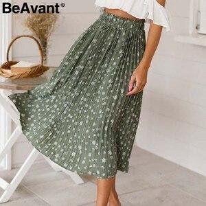 Image 2 - Beavant saia plissada longa com estampa floral, feminina, para férias, praia, chiffon, verão, estilo boêmio, solto