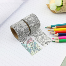 30mm Creative Painting Washi Tape for Girl DIY Bullet Journal Decorative Adhesive Masking Tape Scrapbooking Stationery Supplies