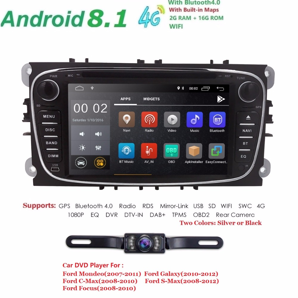 2 Din Android 8.1 4 Core Car DVD Player For FORD Mondeo S MAX Connect FOCUS 2 2008 2011 With Radio GPS 4G LTE Network DVR DAB SD