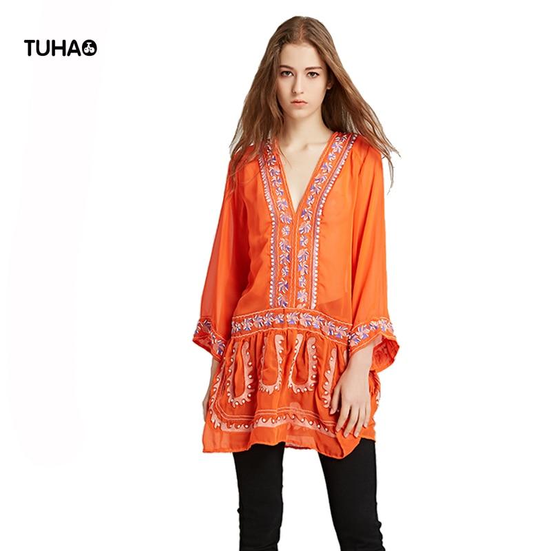 TUHAO v-cou perles magnifique géométrique broderie bohème Blouse femmes mince translucide lâche manches longues Blusa femme TR5907