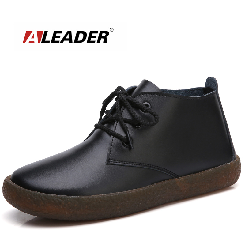 ALEADER Genuine Leather Ankle Boots Women Lace Up Causal Shoes Cute Black Autumn Comfortable Women Boots zapatos mujer botasALEADER Genuine Leather Ankle Boots Women Lace Up Causal Shoes Cute Black Autumn Comfortable Women Boots zapatos mujer botas