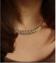 Women Jewelry Pendant Chain Rhinestone Choker Chunky Statement Bib Charms Necklace AJ245G-AJ246G vintage bib rhinestone crystal statement choker necklace for women