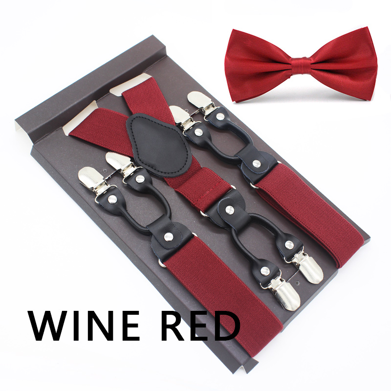 Men Suspenders Solid Party Wedding Various Classic 6 Clips Pre-Tied Bow Tie Set Y Shape Adjustable Braces Strap Husband's Gift