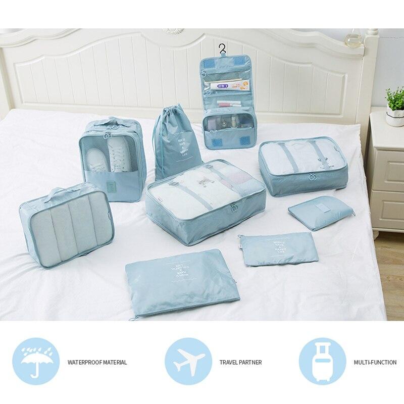 5PCS 9PCS/set Travel Packing Cube Underwear Baggage Shoes Clothes Organizer Waterproof Travel Bags Clothing Sorting Organize Bag