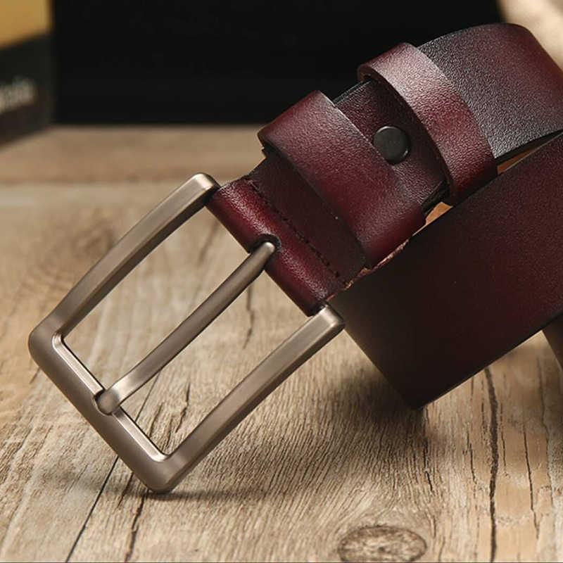 [Lfmb] Leather Belt Pria Sabuk untuk Pria Sapi Kulit Asli Tali Desain Sabuk Pria Ceinture Homme Tinggi Asli leather Belt