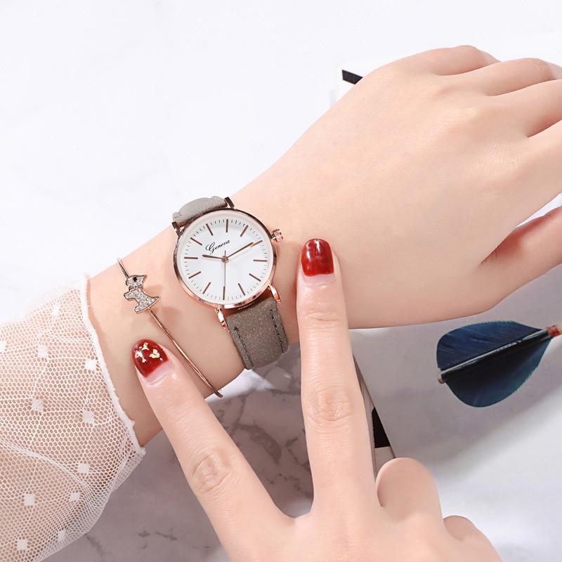 PU Strap Analog Clock Teen Dress Clock Watches Gift For Girls Children Quartz WristWatch Simple Wrist Watch Relogio Infantil