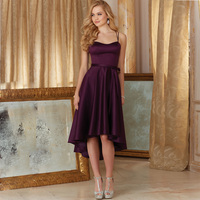 2016 Cheap Simple Short Prom Dresses Dark Purple Fashion High Low Formal Party Cocktail Dress 2017