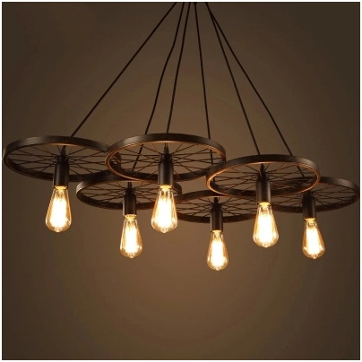 Loft Creative Personality Retro Restaurant Bar American Country Wrought Iron Industrial Style Wheels Chandeliers