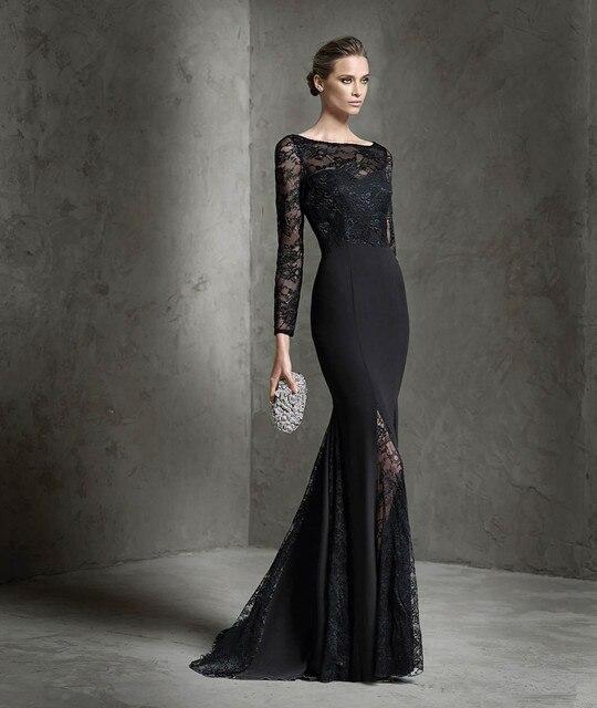 New Designer Sheer Lace Long Sleeve Evening Dress 2016 Black ...