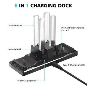 Image 3 - 6 in 1 şarj standı istasyonu denetleyicisi şarj tutucu standı için LED göstergesi nintendo anahtarı Joy con Pro kontrol cihazı şarj cihazı