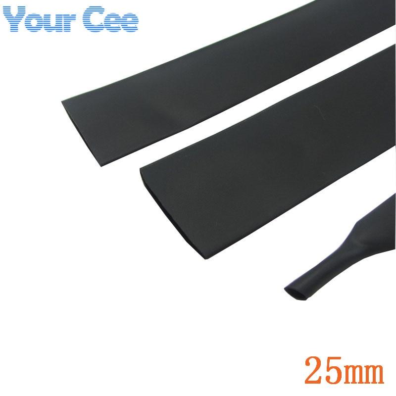 1m thermorétractable tube thermorétractable noir isolation manchons fil enroulement câble Kit diamètre intérieur 25mm 600V 125Celsius