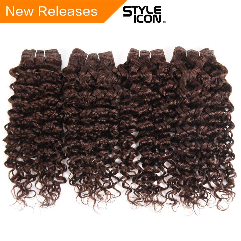 Styleicon Brazilian Jerry Curly Hair Wave Weave 4 Bundles Deal 190G 1 Pack Human Hair Bundles Color 4 Non-Remy Hair Extensions