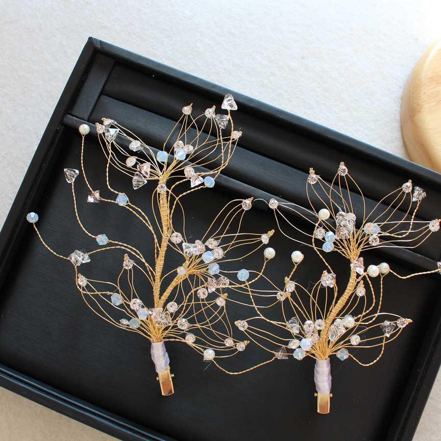 latest design 1pair crystal beads long barrettes bridal hairbands tiara wedding hair jewelry