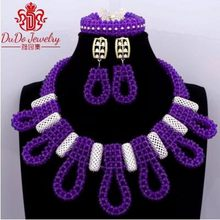 Dudo Store Purple Jewelry Set Ladies African Necklace Earrings Bracelet Luxury Wedding Jewellery Set Free Shipping 2019 Bridal(China)