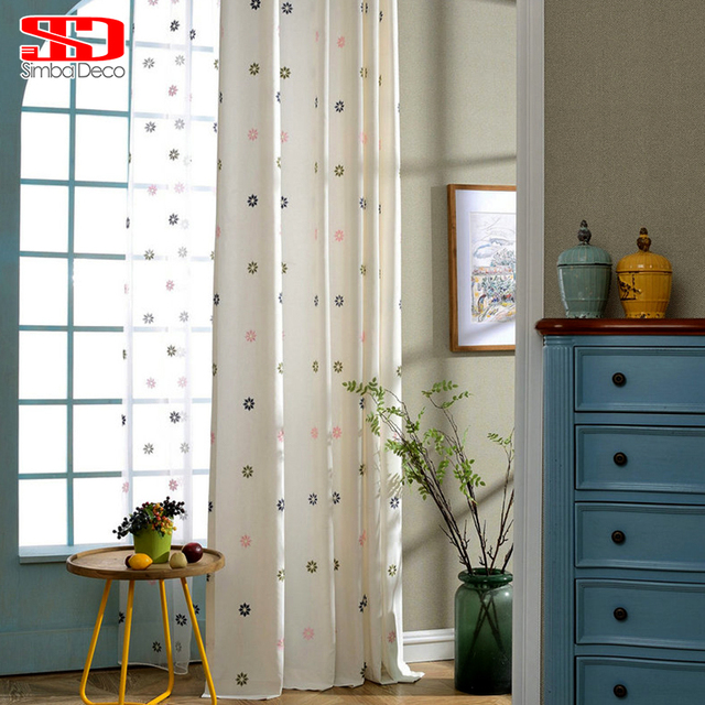 white cloth curtains for kids bedroom colorful flowers children blackout curtains drapes window shading panel fabric