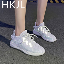 HKJL 2019 summer and autumn reflective shoes female Korean version of the flying woven socks lace Z007
