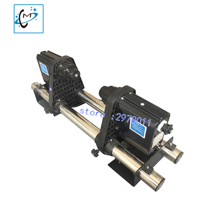Roland /Mimaki /Mutoh piezo photo  printer roller take up system (two motors) without support legs paper receiverTake Up Device 64 automatic media take up reel system for mutoh mimaki roland etc printer