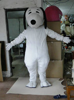 Deluxe White Dog Mascot Costume, Halloween Mascot Costume Fancy Dress with helmet and cooling fan,